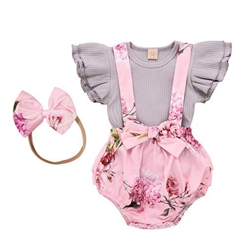 Xmiral Baby Mädchen Fly Hülsen Rüsche Tops + Floral Overall Shorts 2er Outfits Kleinkind Kinder O-Ansatz Hemd Bowknot Hosen Kleidung Set(Grau,12-18Monate)