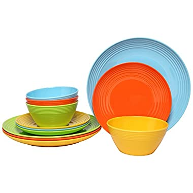 Melange 12-Piece Melamine Dinnerware Set (Solids Collection) | Shatter-Proof and Chip-Resistant Melamine Plates and Bowls | Color Multicolor | Dinner Plate, Salad Plate & Soup Bowl (4 Each)