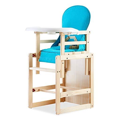 Chaises Hautes MYL Bébé en Bois avec Coussin Bleu, 2 en 1 Convertible Enfant en Bas Âge Table Chaise Set, 6 Mois Jusqu'à 140lbs