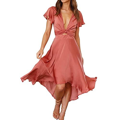 Abito da Donna Dress Estive a Maniche Corte con Temperamento Sexy Vestito Irregolare Tinta Unita...
