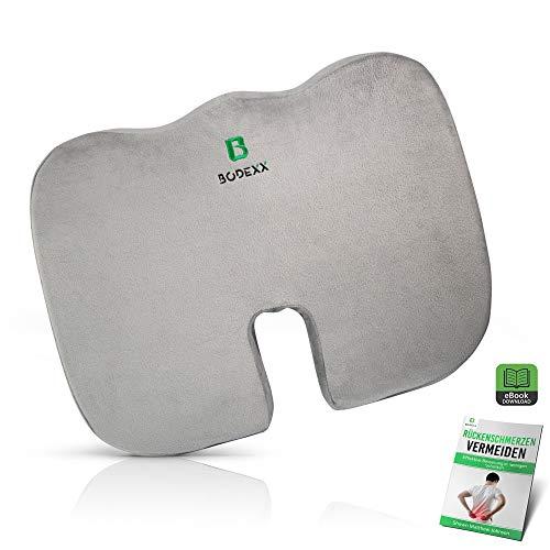 BODEXX® Orthopädisches Sitzkissen extra dick – Coccyx Cushion für Büro und Auto inkl. E-Book – Memory Foam Seat Cushion mit kühlender Gelschicht
