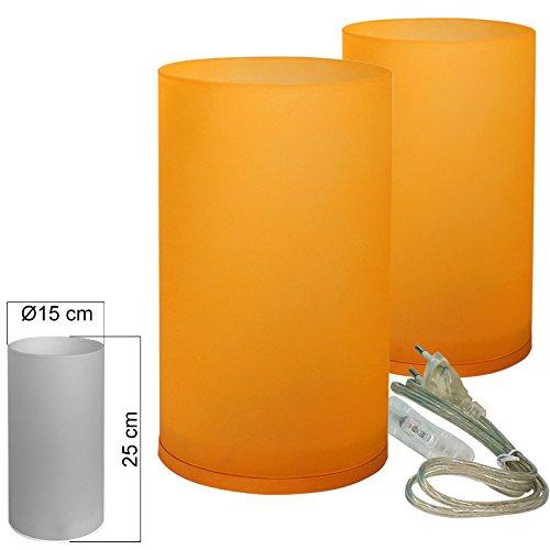 Tischleuchte Glas 2er Set orange Tischlampe E14 in Zylinder Form Höhe 25cm
