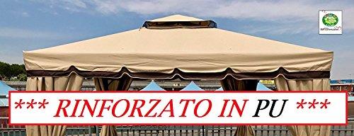 417176B - Telo Rinforzato In PU Copertura Gazebo 3X3 450 gr Ricambio con Camino Antivento Antipioggia 3 X 3 Marcato Eurolandia