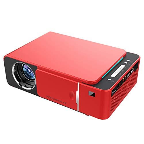 Proyector LED 1080p inalámbrico WiFi Vedio Home Cinema Proyector de 2600 lúmenes Proyector de película móvil con 30.000 horas de vida de la lámpara LED, compatible con HDMI, VGA, Tf, Av (Color : Red)
