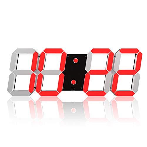 Myfei Digitale wandklok met led-cijfers, Hollow driedimensionaal, snooze Wall Desk, alarm, datum, temperatuurregeling, automatische afstandsbediening voor fitnessstudio's op kantoor thuis, 4