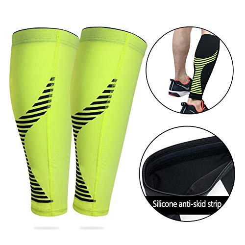 YXYLD compressiesokkenovertrek, met 1 paar kuitbeschermhoezen voor mannen en vrouwen, geschikt voor badminton/paardrijden/basketbal, zaalsport Medium geel
