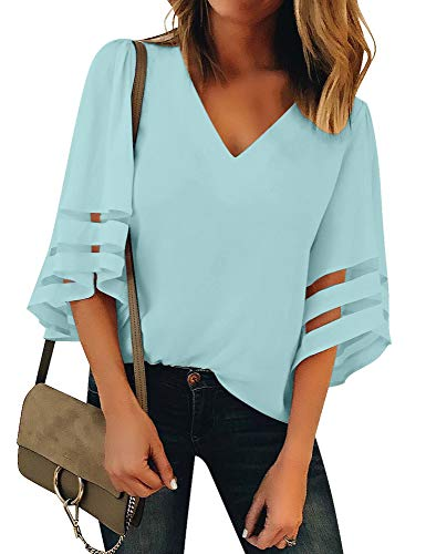 Utyful Women's Sweet Blue Casual V Neck Mesh Panel 3/4 Bell Sleeve Solid Loose Blouse Top Large