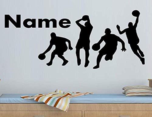 Pegatinas De Pared, Nombre Personalizable, Patrón De Jugador De Baloncesto, Vinilo, Calcomanías De Pared, Niño, Niños, Adolescente, Habitación, Decoración Del Hogar, Papel Tapiz 52X75Cm
