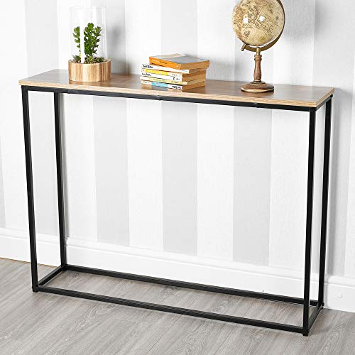URBNLIVING Wooden Hallway Console Table with Metal Legs (Oak)