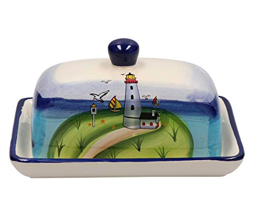 Tony Brown - Maritimes Leuchtturm Geschirr aus Keramik (Butterdose)