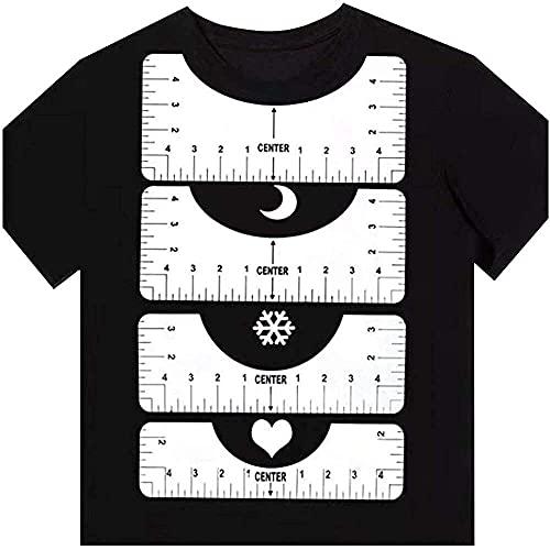 YuKeShop 4 st t-shirt justeringsverktyg, t-shirt linjal guide,sublimeringsdesign på t-Shirt- centreringsverktyg, t-shirt HTV justeringsverktyg, kläder storleksguide linjal rund hals justeringsverktyg