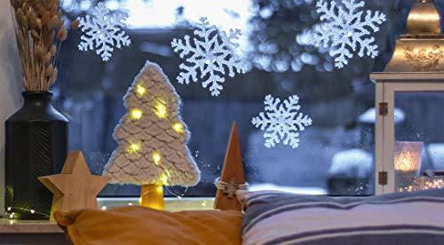 DIYexpert® 6 x Deko Eiskristall 120 mm, Fensterdeko Schneeflocke, Weihnachtsbaumschuck Hängedekoration - Made in Germany