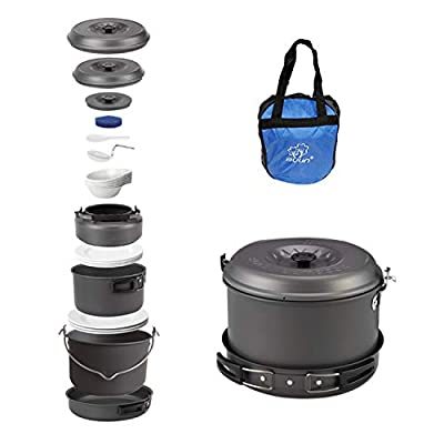 Bulin 27 Pieces Camping Cookware Mess Kit, Nonstick Outdoor Backpacking Cooking Gear Set for Family 6-7 Person, Lightweight Cookware Sets(Kettle, Pots, Frying Pan, BPA-Free Bowls, Plates, Spoon)