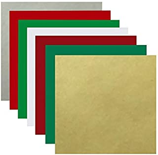 Christmas Colors 15 Sheet Bundle | 14-12 Inch x 12 Inch Sheets Glossy Permanent Adhesive Vinyl | Plus 1 Sheet of Transfer Paper