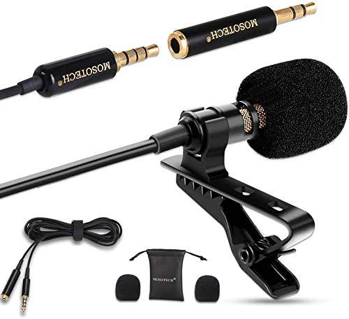 Mosotech Microfono Lavalier, Microfono a Condensatore Omnidirezionale con Clip e 2m Cavo di Prolunga, Microfono Professionale per iPhone iPad Android PC Windows Fotocamera Tavoletta