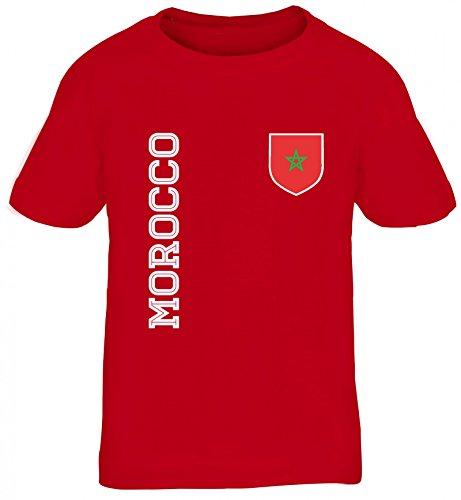 Marokko Fußball WM Fanshirt Gruppen Kinder T-Shirt Rundhals Mädchen Jungen Fan Trikot Morocco, Größe: 152/164,rot