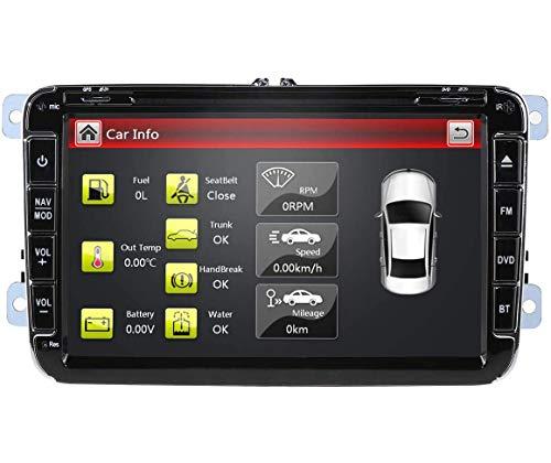 Reproductor multimedia para automóvil Radio de automóvil de 8 pulgadas para VW Golf Passat Jetta Skoda Asiento con sistema Wince Reproductor de DVD Navegación GPS Radio FM AM Bluetooth USB SD Compati