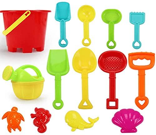 Kids Beach Sand Toys Set 14pcs Portátiles Varias Formas Play Play Toys, Carrito de Cuatro Ruedas, Cubo de Agua, Spade Niza para niños, Niños (Color : A)