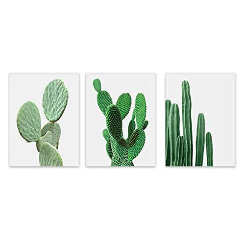 Bolange Pintura Decorativa de la Lona de la Pintura del Cactus de 3 Paneles, decoración del Hotel del Dormitorio del Cuadro de la Pared del Cactus de la Manera