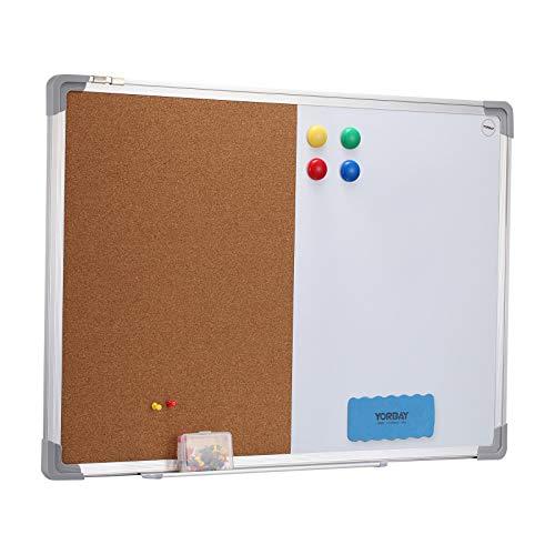 Yorbay Whiteboard und Pinnwand Kombitafel Magnetwand mit Alurahmen, magnetisch, 70 x 50 cm, Weiß (Mehrweg)