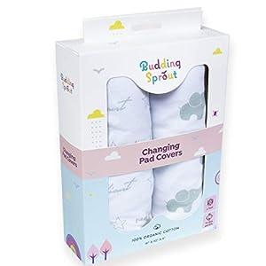 Fundas ultra suaves de algodón orgánico para cambiadores de bebés (paquete de 2). Se adaptan a cambiadores de tamaño estándar 40,6 x 81,2 cm (16