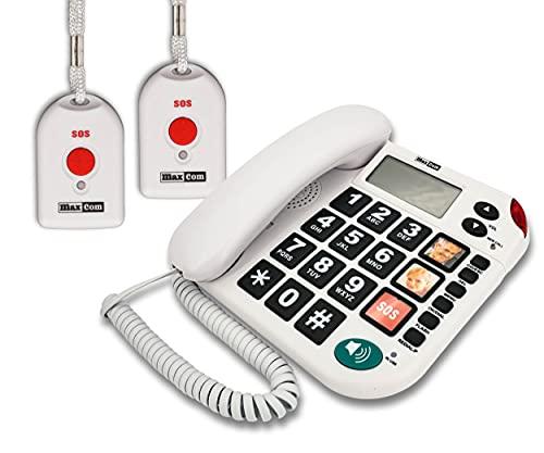 MAXCOM KXT481SOS (G-TELWARE®) Haus-Notruf-Seniorentelefon mit Funk-SOS-Sender, schnurgebundenes Festnetz-Telefon mit 2 Umhängesendern, Große Tasten, TAE Stecker, Hörgerätekompatibel