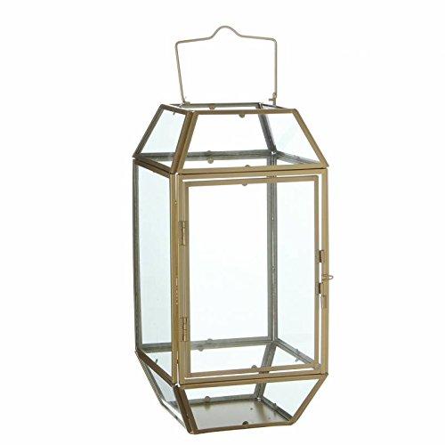 L'Héritier Du Temps Lantaarn om neer te zetten, lamp, 12 glazen ruiten, industriële stijl, windlicht, om op te hangen, ijzer en glas gepatineerd, messing 17,5 x 17,5 x 44,5 cm