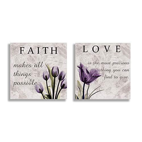 Love Faith Purple Tulip Flower Wall Decor Lavender Canvas Wall Art Posters Prints Ready to Hang Framed Kitchen Living room Bathroom Bedroom Decoration 2 Pieces (12' Purple 1)