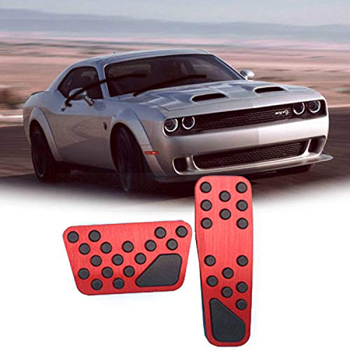 Rifoda for Dodge Challenger Charger Chrysler 300 2009-2019 Accelerator Gas Pedal Brake Pedal Cover Non-Slip Replacement Pedal Pad Aluminum Performance Foot Pedals Set(Red)