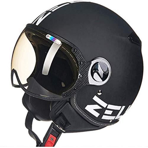 ZHXH Jugend Harley Halbhelm Motorrad Retro Kapuze Regenschirm Regenschirm Halbhelm DOT-zertifizierter modularer Schutzbrillenhelm Herren und Damen Fahrrad Roller Halbhelm (mehrfarbig optional)
