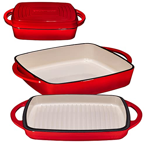 Bruntmor Enameled Square Cast Iron Large Baking Pan. Cookware Baking Dish With Griddle Lid 2-in-1 & Double Handle for Casseroles Lasagna, 10-inch Multi Baker for Oven and Stove, Fire Red