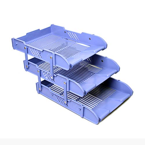 Vaschetta Portacorrispondenza File Tray File Holder 3 Strati di finitura di plastica Dati Storage Rack File Basket Multistrato, blu Supporto per documenti