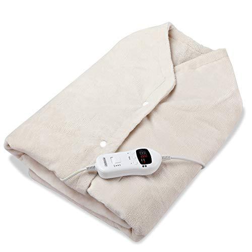 Monzana Heizdecke Heizcape 145x100 Timer 10 Heizstufen 4lagiger Flanellfleece 120W Creme Überhitzungsschutz Waschbar