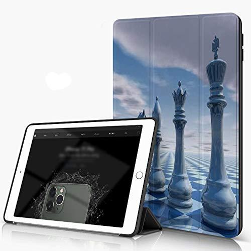 Funda para iPad 9.7 para iPad Pro 9.7 Pulgadas 2016,Azul Nadie Ocio con Ajedrez Cielo Movimiento Render Marketing Abstracto Paisaje Piez,incluye soporte magnético y funda para dormir/despertar