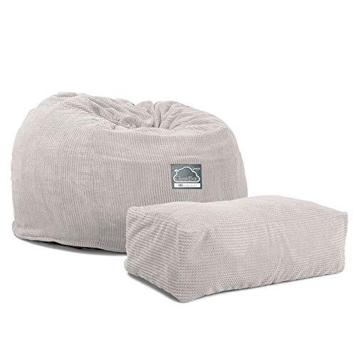 Lounge Pug, CloudSac 510 XL, Grand Pouf à Mémoire de Forme, Canapé, Pompon Crème