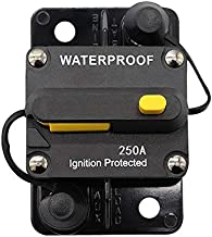 ANJOSHI 250Amp Waterproof Circuit Breaker 50A-300A Reset Fuse Holder with Manual Reset Auto Car Marine Stereo Audio Inline Fuse for System Protection 12V-36VDC