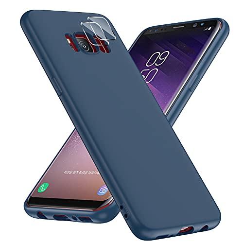 LeYi Funda Silicone Samsung Galaxy S8 con 2 Pack Protector de Lente de cámara,Completo Goma Antichoque Bumper de Protección,Carcasa de Silicona Suave para Samsung Galaxy S8,Azul