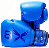 8XSports Guantes de boxeo para hombres y mujeres   Juego de guantes de 16 onzas, 14 onzas, 12 onzas, 10 onzas, 8 onzas   Guantes hechos a mano para entrenamiento MMA o Boxercise (azul, 12 onzas)
