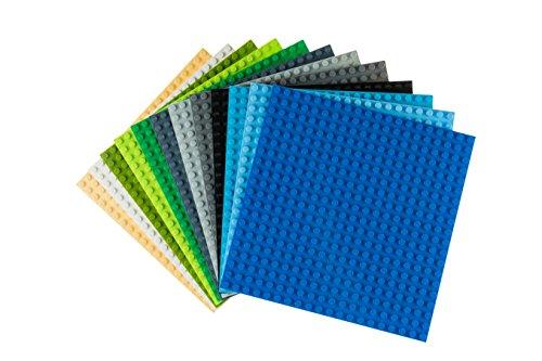 Strictly Briks - Pack de 12 Bases para Construir - Compatibles con Todas Las Grandes Marcas - 15,24 x 15,24 cm - 12 Bases de Colores