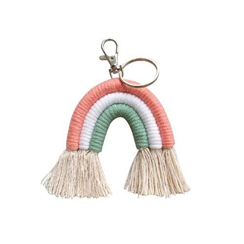 GREEN&RARE Llavero de arco iris, hecho a mano con macramé, para colgar en el coche, ideal para el día de San Valentín, regalo de un amigo