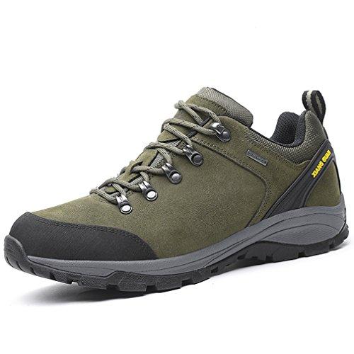 XIANG GUAN Hommes Outdoor Imperméable Suède Off-Road Randonnée Trekking Chaussures Respirant Casual Lace-up Low-Top Athlétique Professionnel Sneakers (39 EU, Vert Armée)