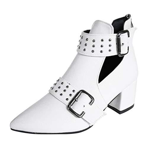Kaister Damen Retro Einzelne Schuhe Einfarbig Quadrat mit spitzen Nieten Kurze Stiefel Nackte Stiefel