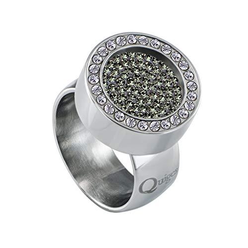 Quiges Silber Edelstahl Ring mit Zirkonia 12mm Mini Coin Halter Wechselring und Austauschbar Dunkelgrün Zirkonia Coin in Größe 19mm
