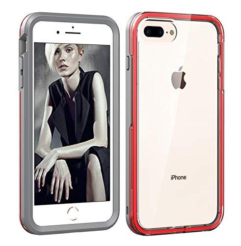 BANAZ Funda telefónica for iPhone 6/7/8, 2 en 1 Funda de combinación de Color sólido TPU + PC (Color : Grey+Red)