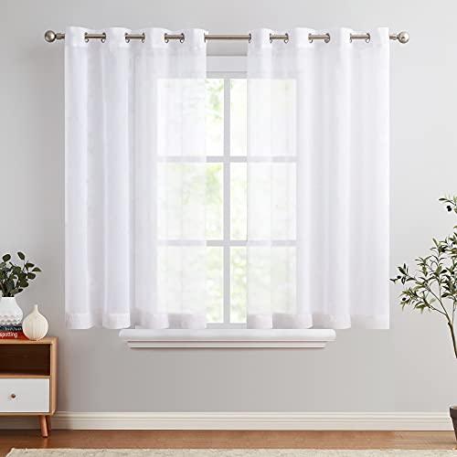 TOPICK Voile Vorhang Mit Ösen Sheer Vorhänge Transparent Gardine Gaze Paarig Ösenschals für Wohnzimmer Schlafzimmer 145 cm x 140 cm(HxB) 2er - Set Weiß