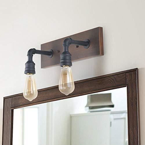 LNC A03375 Luces de tocador de baño, lámpara de pared de madera y tubería de agua, 2 cabezas