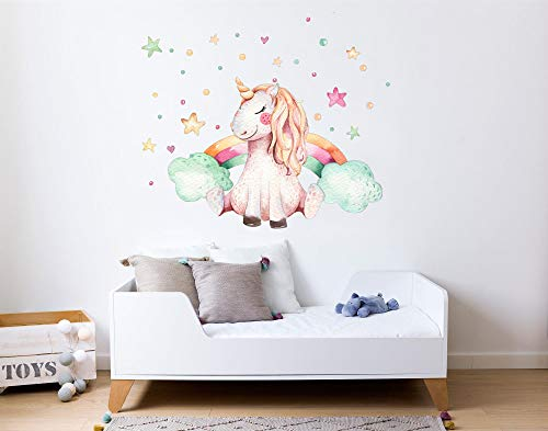 Vinilo Decorativo Infantil de Pared Unicornio y Arcoiris con
