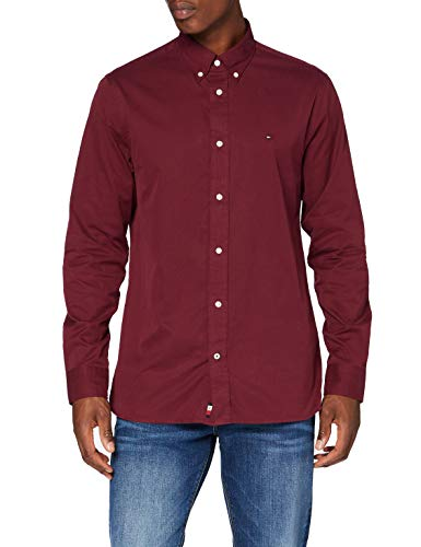 Tommy Hilfiger Herren Fine Twill Shirt Hemd, Deep Rouge, L
