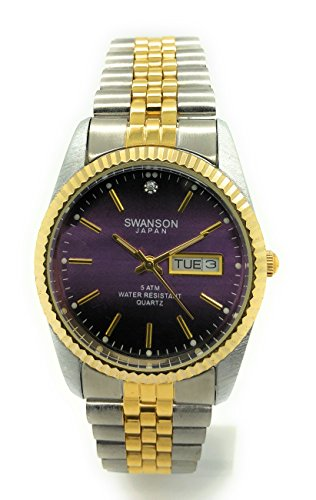 Mens Classic Gold Silver Metal Bracelet Fashion Day and Date Watch Swanson (Purple)