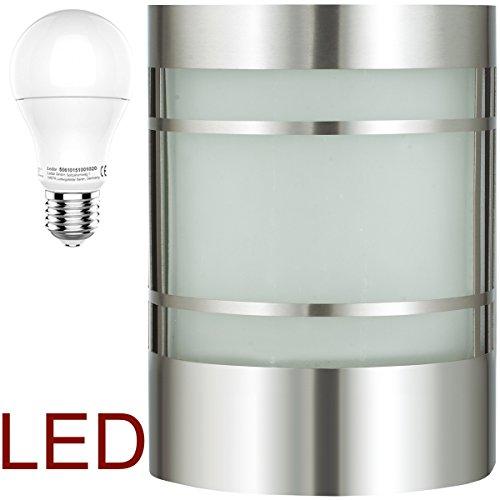 LED Wand-Außenleuchte mit & LED Leuchtmittel - Edelstahl Außenlampe Hoflampe Gartenlampe Gartenleuchte [Energieklasse A+]